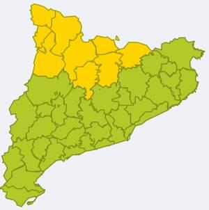 Mapa d'alertes per neu a Catalunya el 25 de març del 2020