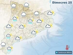 Mapa de previsió a Catalunya el 25 de març del 2020