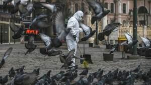 Una persona realizando tareas de desinfección