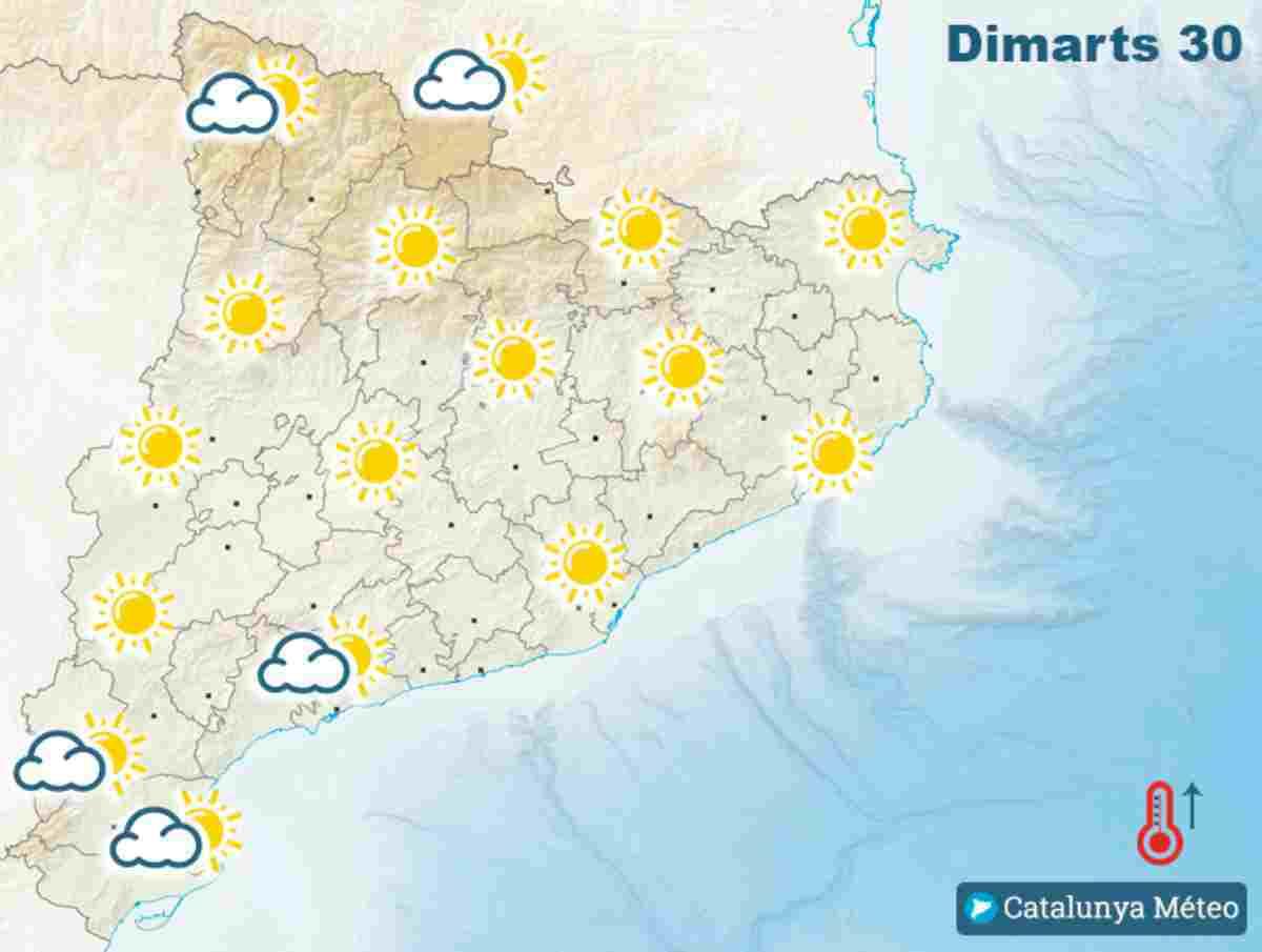 Mapa del temps a Catalunya pel pròxim dimarts 30 de juny del 2020