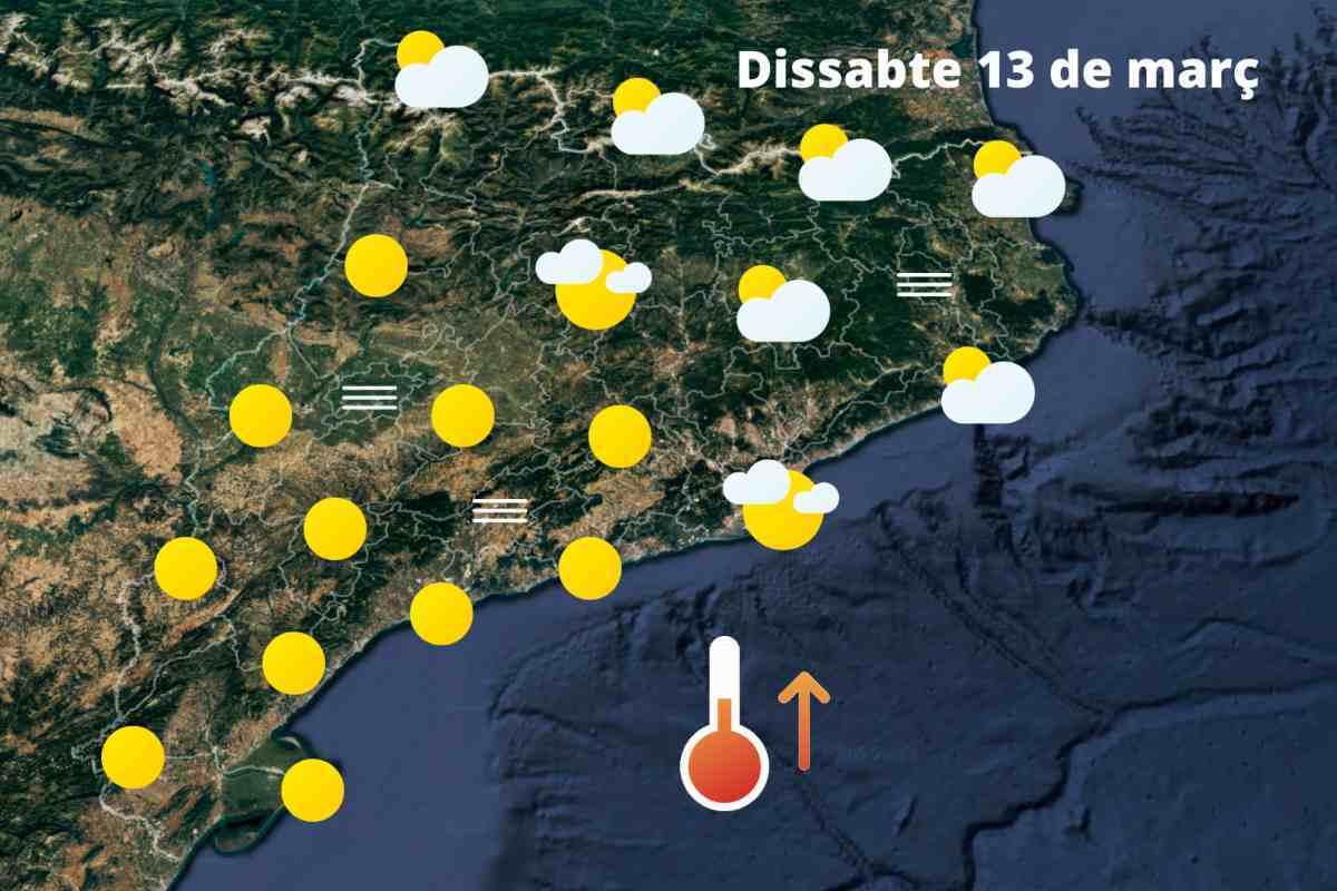 Mapa de previsió a Catalunya el 13 de març del 2021