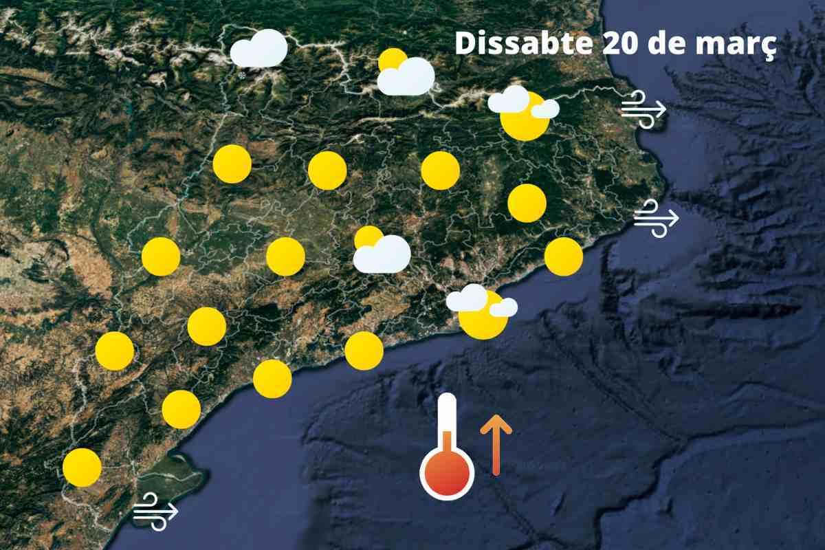 Mapa de previsió a Catalunya el 19 de març de 2021