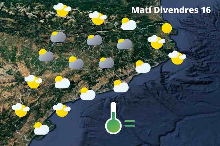 Mapa de previsió a Catalunya el matí del 16 d'abril del 2021