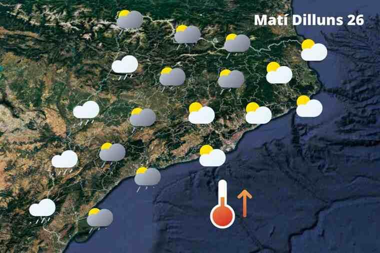 Mapa de previsió a Catalunya el matí del 26 d'abril del 2021