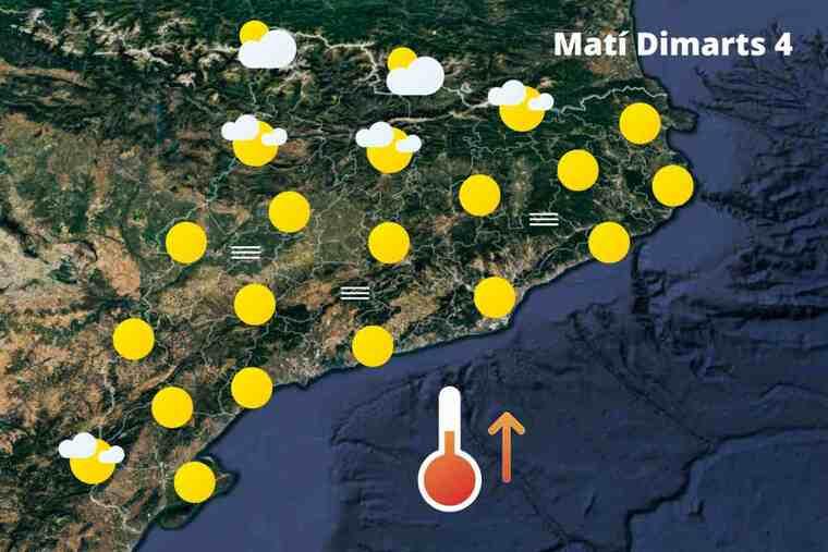 Mapa de previsió a Catalunya el matí del 4 de maig del 2021