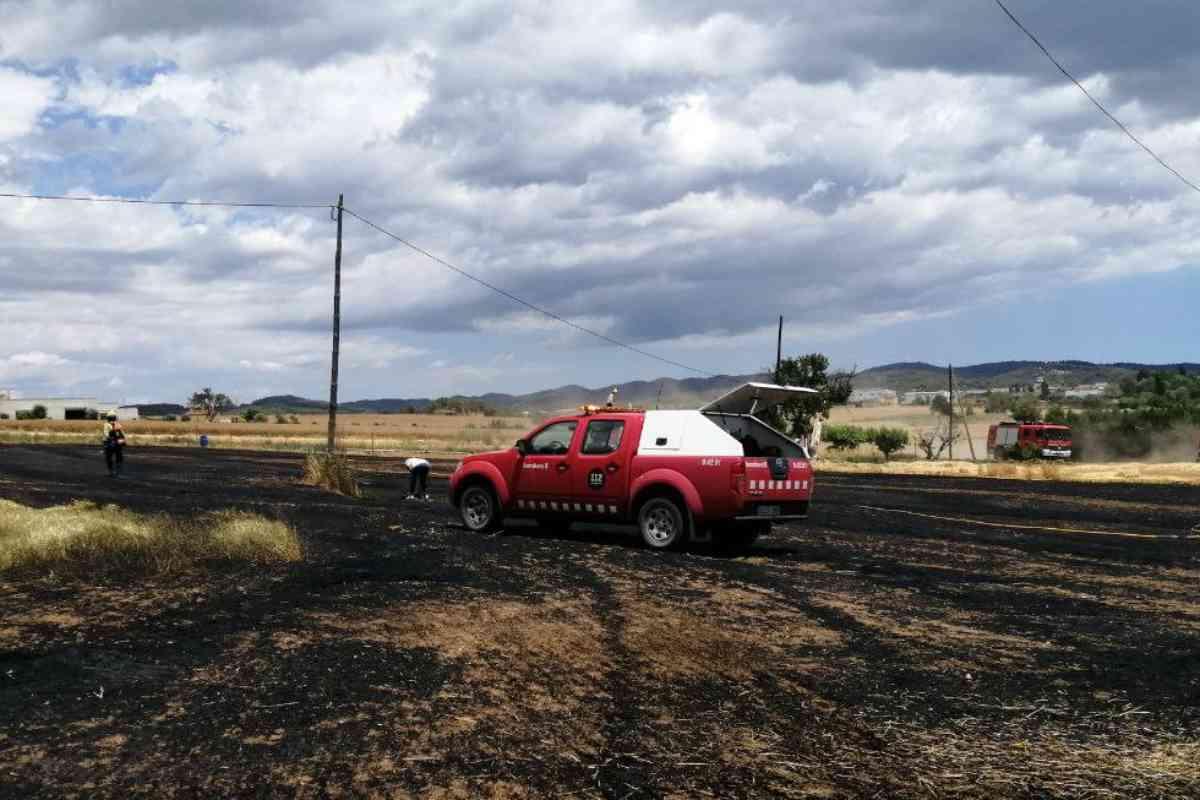 Un cotxe dels Bombers en un terreny agrícola cremat
