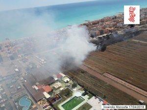 Imatge aèria de l'incendi