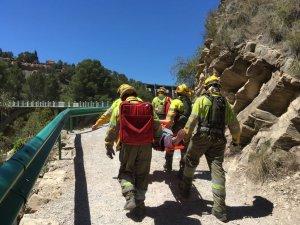Els bombers s'emporten a l'home que s'havia llançat al riu