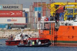 Imatge de l'Aquarius a la seua arribada al Port de València