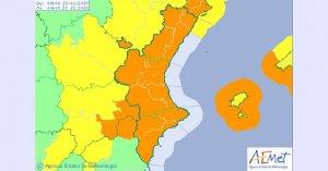 Alerta Taronja vent Comunitat valenciana