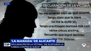 El programa Espejo Público (Antena 3) va oferir part de la declaració de la jove.