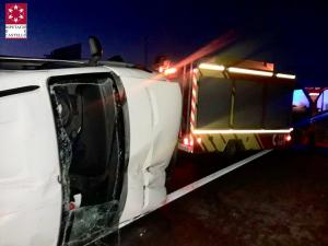 Imatge de la furgoneta bolcada