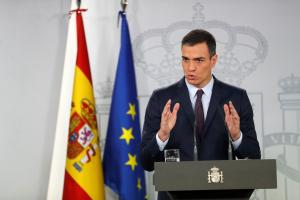 Imatge del president Pedro Sánchez durant la compareixença