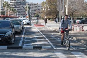 Imatge d'un ciclista al carril bici de València