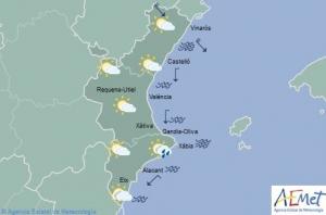 Mapa de símbols per a la primera meitat del dia de demà, 19 de març