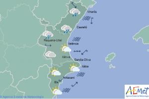 Imatge de la predicció d'Aemet per al dimecres 3 d'abril