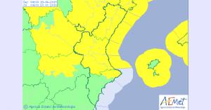 Imatge del mapa d'alertes a la Comunitat Valenciana