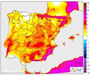 Mapa de la pujada de TºC a la península Ibèrica l'11 de març del 2020