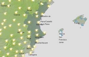 Mapa de previsió a València l''1 de març del 2020