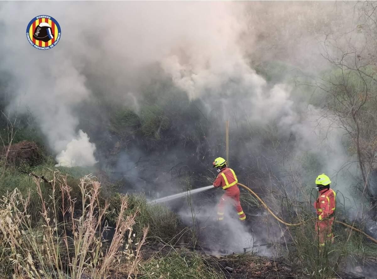 Bombers apagant foc en la muntanya|Consorci de Bombers