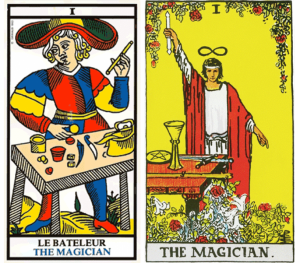 "The Magician is also known as ""Le Bateleur"" in French."