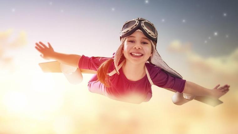 A girl flying.