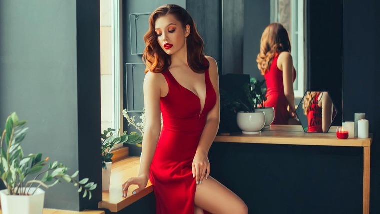 Sexy woman in red dress
