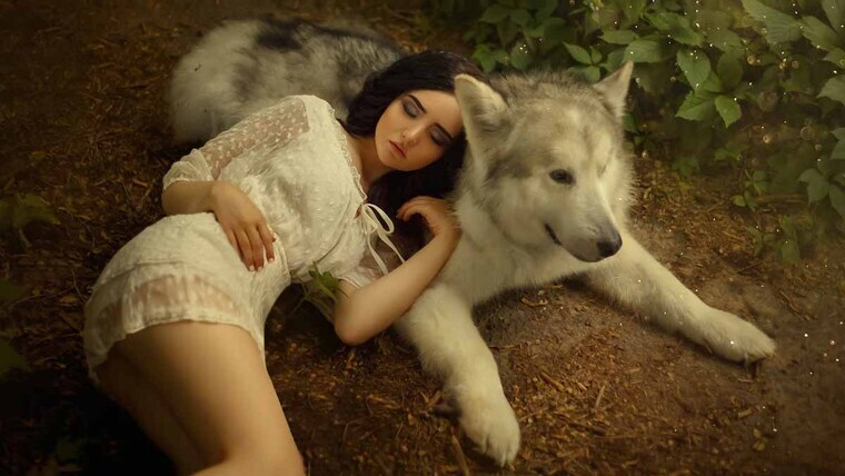 A wolf and a woman sleeping