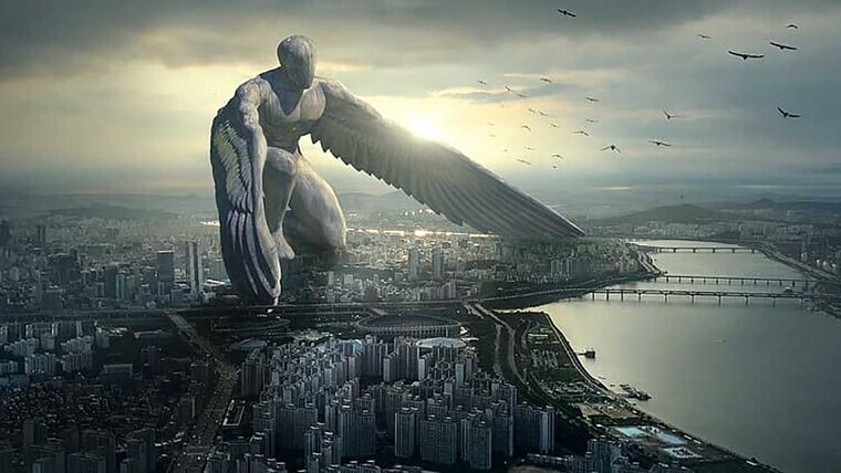 A winged giant in a very big city