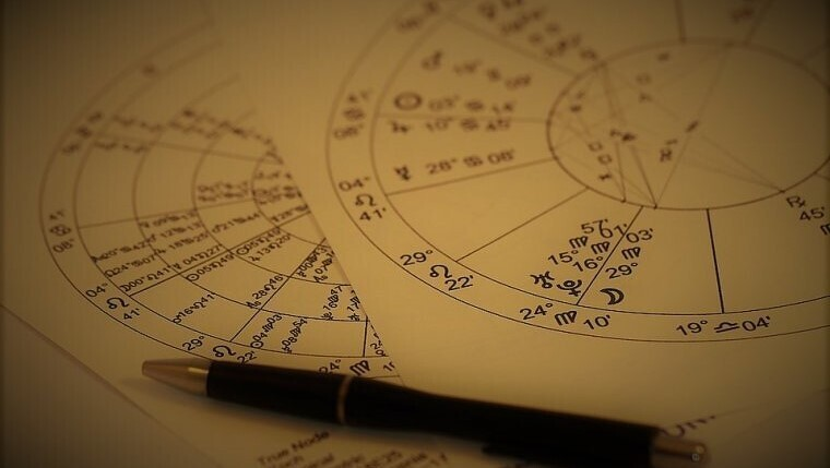 Natal charts - papers with calculations