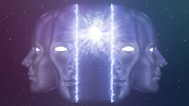 A face split in half where it indicates with a light the pineal gland