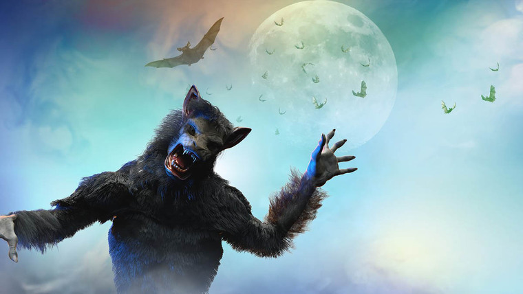 A werewolf with some bats and a big moon in the background