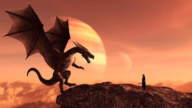 A Dragon and a man with a sword in front of it.