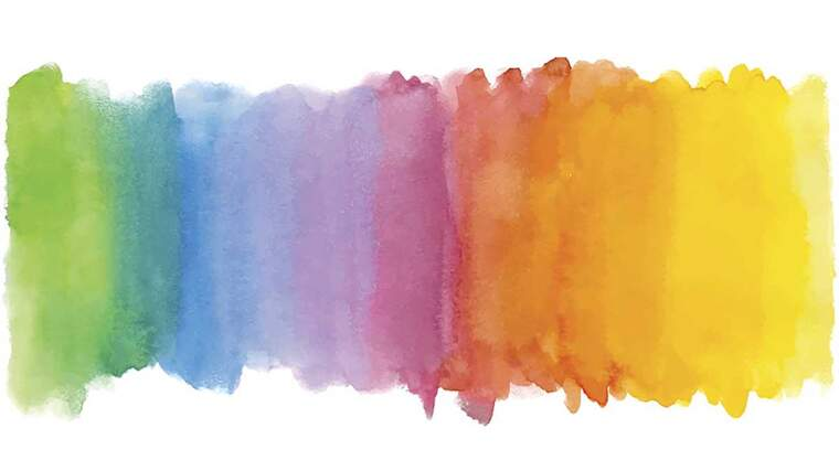 A range of colours made with water paint