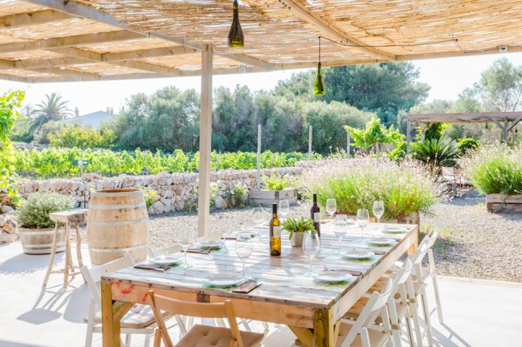 Binifadet, vinyes i taula parada
