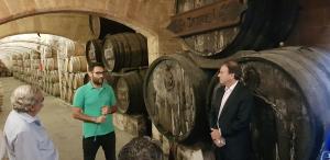 A l'interior de celler de Bodegues Suau coneguren les particularitats de l'elaboració del seu brandy