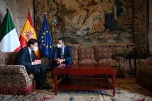 Giuseppe Conte i Pedro Sánchez en la cimera hispano italiana que s'ha fet aquest dimarts a Palma