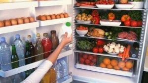 Productos alimentarios en una nevera