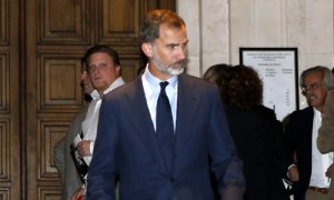 Imagen del rey Felipe en el funeral