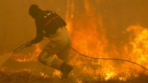 Bombero ante las llamas de los incendios en Galicia