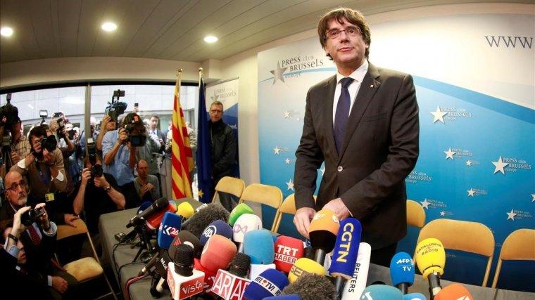 Carles Puigdemont en la rueda de prensa que ha concedido hoy en Bruselas