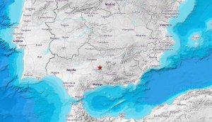 Mapa del Instituto Nacional de Geología que marca el epicentro del sismo de 3,8 registrado en Baena