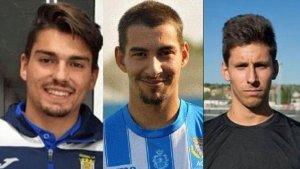 Montaje fotográfico con imágenes de los 3 futbolistas de la Arandina detenidos por presuntos abusos sexuales a una menor de 15 años