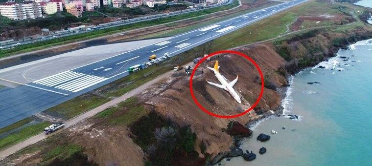 El avión turco se salió de la pista de aterrizaje y se precipitó al mar
