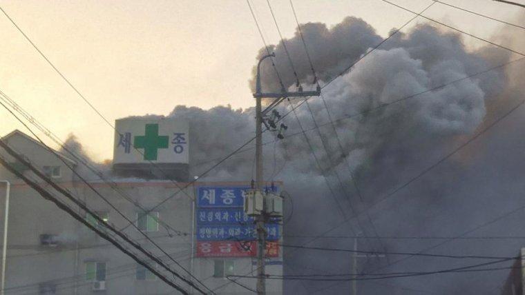 El fuego que se veía desde el exterior de hospital