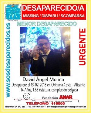 David Ángel Molina, el joven desaparecido en Orihuela Costa