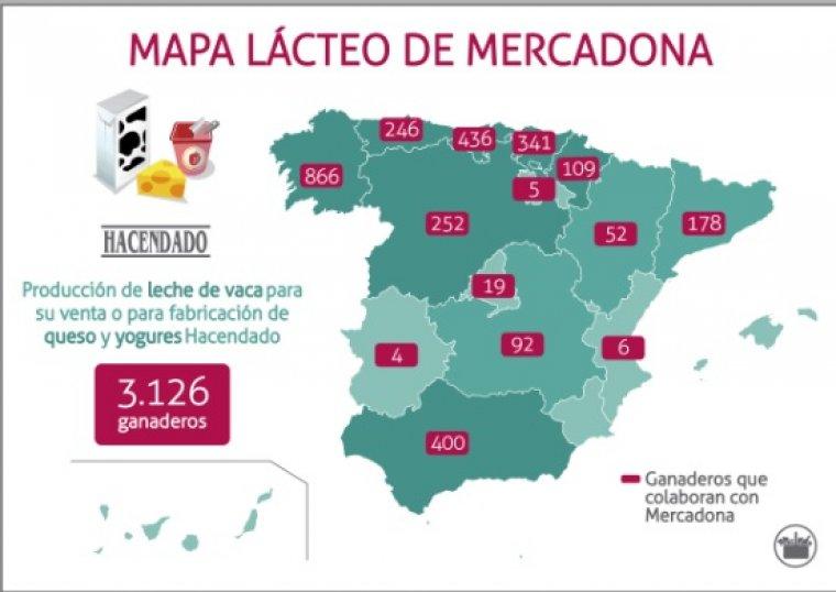 Imagen del mapa de productores de leche de Mercadona