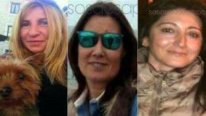 Imagen de las tres mujeres desaparecizas, Paz, Lorena y Concepción, de izquierda a derecha