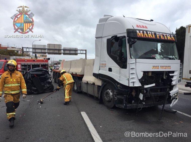 Aparatoso accidente en Palma de Mallorca