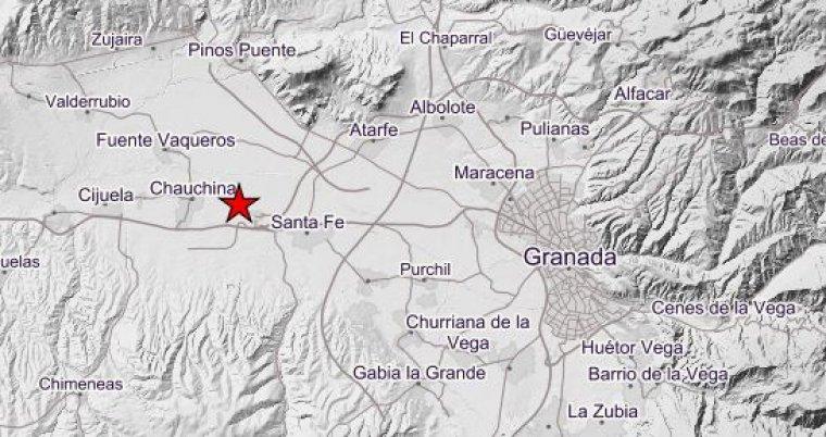Imagen del lugar de los seísmos en Granada